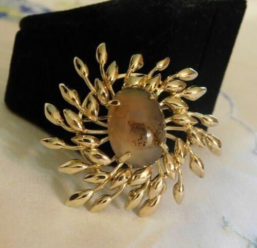 Vintage Moss Agate Gold Vermeil Sterling Silver Brooch Signed WELLS STER