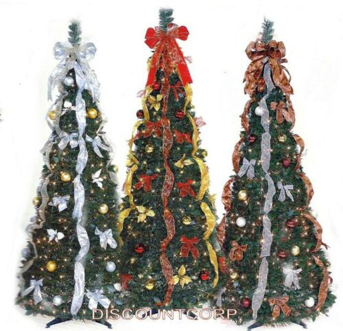 6 FT PULL UP DECORATED  PRE LIT COLLAPSIBLE POP UP CHRISTMAS TREE 350 LIGHTS NEW