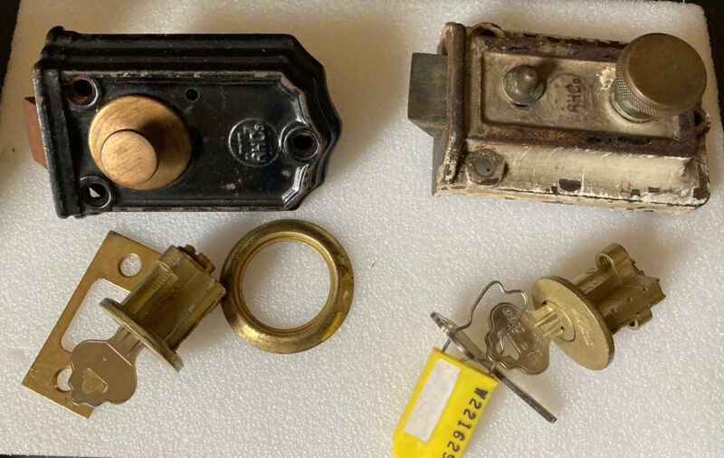 2 Vintage RHC Night Latch Locks & Additional Lock Pieces ~ PAT 1893