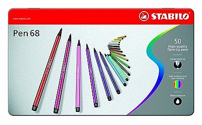 STABILO Pen68 Pen 68 50er Metalletui Filzstift Fasermaler 50 Stifte  6850-6