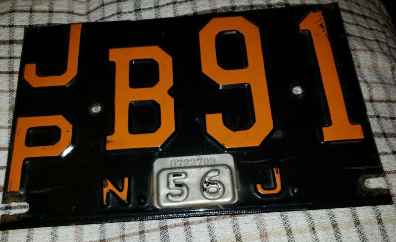 1956 N J License Plate JPB 91 w Tag 0722702 - Black VINTAGE ANTIQUE Chevy / Ford