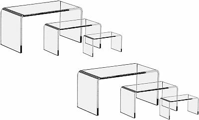 6 Pieces Set - Clear Acrylic Display Riser Set Acrylic Display Stand Ship Free