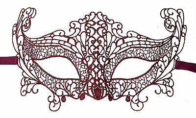 Mask from Venice Lace Burano-Wolf Civet Carnival- Red 605 CB3