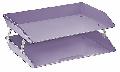 Acrimet Facility 2 Tiers Double Letter Tray Solid Purple Color