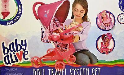 Baby Alive Doll Travel System CARRINHO DE CARRINHO DE BONECAS CARRINHO CLIQUE EM DESTAQUE NA CAIXA