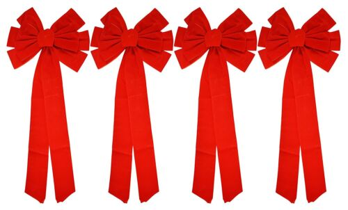 """Red Velvet Christmas Bows 26"""" Long 10"""" Wide 10 Loop Holiday Bow - 2, 4, 8 Packs"""