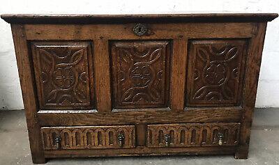 Antique Oak Georgian Blanket Box/storage Cupboard