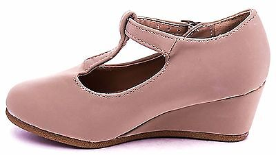 Kids Heel Shoes (Girls Kids Children Shoes Round Toe T-Strap Strappy Low Wedge Platform)