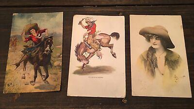 3 Western Postcards Vtg Lot Variety Bronc Woman Cowgirl Cowboy Horse