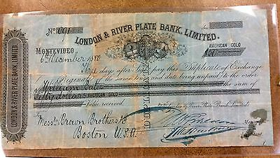 {BJSTAMPS} 1880 London & River Plate Bank, Ltd  Gold Money order - Check SCARCE