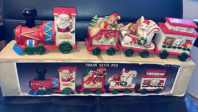 "4 pcs Set Porcelain Train Vtg NIB Old Stock Approx. 4"" H Santa Claus Christmas"