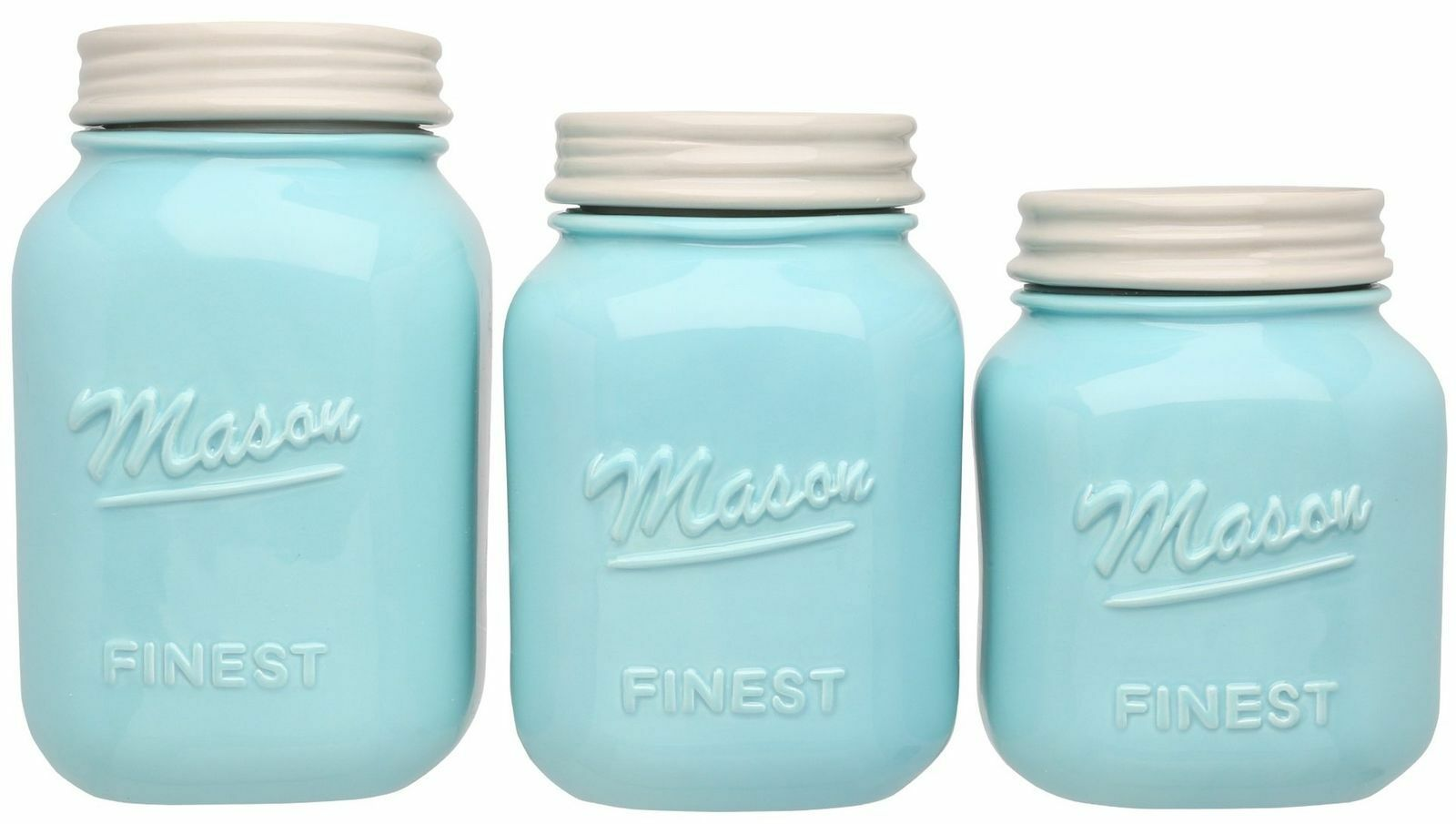 Mason Jar Kitchen Canister Set - of 3 Canisters Large Round Ceramic ...