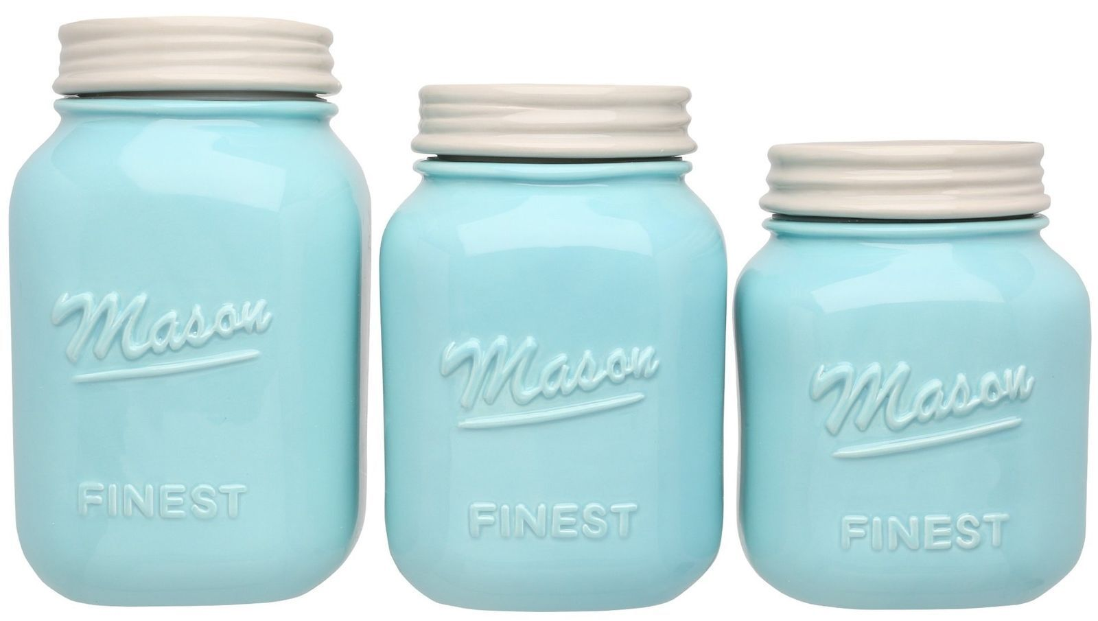 Mason Jar Kitchen Canister Set - Set of 3 Kitchen Canisters - Large ...