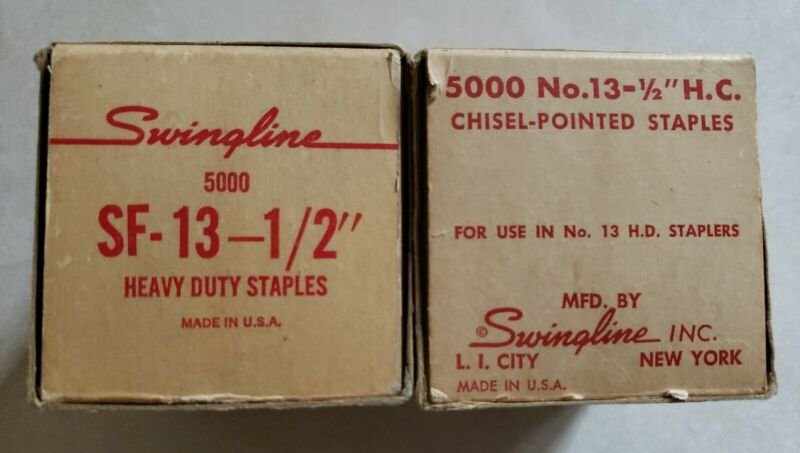 """Vintage Swingline Heavy Duty High Carbon Chisel-Pointed No. 13-1/2"""" Staples 10k"""