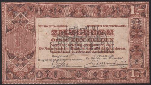 Netherlands 1 gulden 1938 PROOF, VF+, Zilverbon, Pick 61