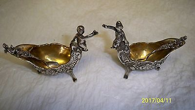 Pair Victorian Sterling Silver Figural Cherub Salt Cellars with Matching Spoons