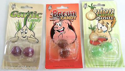 3 Pack GROSS TASTING CANDY SET BACON ONION GARLIC Flavored Prank Joke Gag Hard  - Gross Candy