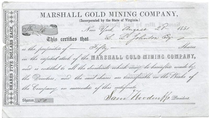 CALIFORNIA? 1851, Marshall Gold Mining Company Stock Certificate