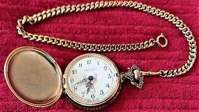 Westclox Pocket Watch w/Chain, Hunting Buck Dog - Vintage 1970's