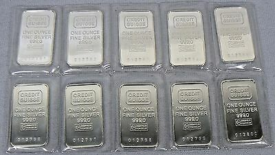 SHEET of 10 VINTAGE 1 OZ CREDIT SUISSE SILVER BARS SEALED .999 PURE