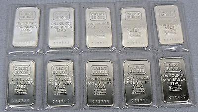Sheet Of 10 Vintage 1 Oz Credit Suisse Silver Bars Sealed  999 Pure