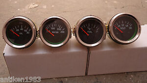 2-52mm-Electrical-Oil-Pressure-Temperature-Volt-Fuel-Gauge-Black-Chrome