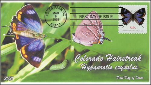 21-061, 2021,Colorado Hairstreak, First Day Cover, Estes Park CO, Butterfly,