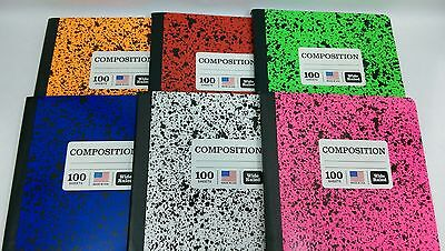 Colored Marble Composition Note Books 100 sheets/200 pages Wide Rule-You - Composition Notebooks
