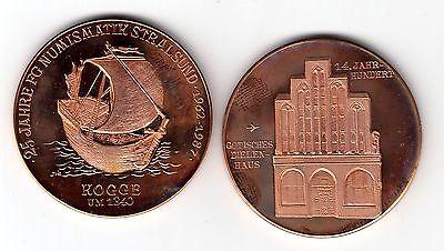 AV-VD Medaille Stralsund Schiffe Kogge um 1340 Gotisches Dielenhaus 14 Jhd. KT33