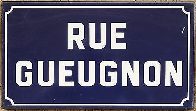 French enamel steel street sign plaque plate road name Rue Gueugnon Burgundy