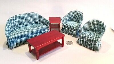 Dollhouse Furniture Living Room - Mahogany and Green Plaid, lot of 5 (lot #7)
