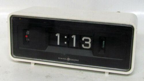 Vintage 1960s GE General Electric White Plastic Alarm FLIP CLOCK Mid Century