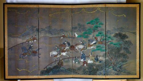 "VGUC 19th Century Byobu ""Horse Race"" Artist Hand Painted 4-Panel Folding Screen"