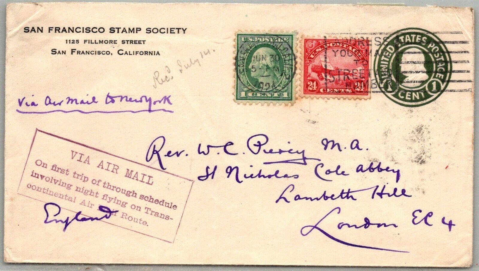 GP GOLDPATH US POSTAL STATIONARY 1924, SAN FRANCISCO, CA. AIR MAIL CV747 P10 - $12.27