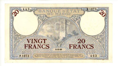 Morocco ... P-18b ... 20 Francs ... 1-3-1945 ... *VF-XF*