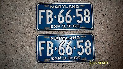 Pair 1960 Maryland License Plates