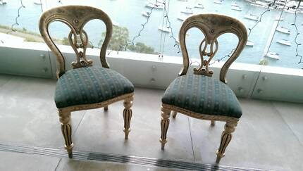 1850's Antique English gold Walnut wood &FabricDining Chairs