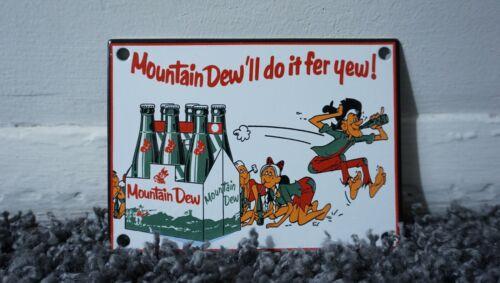 VINTAGE MOUNTAIN DEW PORCELAIN SIGN GAS STATION OIL SODA POP GENERAL STORE RARE