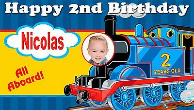 Thomas the Train Birthday Banner Personalized Custom Design Indoor Outdoor Party - Thomas Birthday Banner