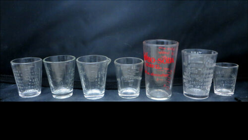 LOT OF 7 DOSE GLASS CUP ANTIQUE MEDICINE APOTHECARY PHARMACY DRUGGIST GLASSES