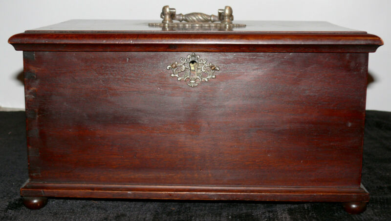 ANTIQUE SEWING BOX WOODEN WITH TWO SIDE DRAWERS LATE 1800
