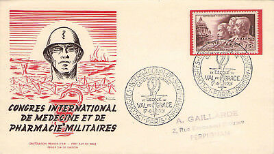 FDC PARIS PERPIGNANT 17 6 1951 CONGRES INTERNATIONAL DE SANTE MILITAIRE MI 916