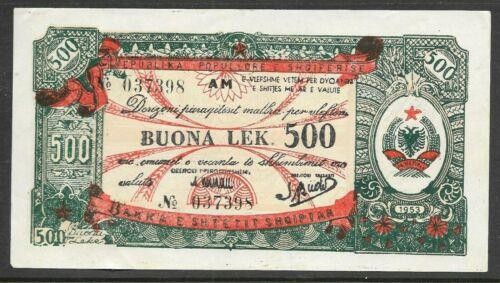 Albania 1953 500 Leke Foreign Exchange Note  P-FX9 AU