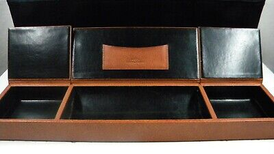 Bosca 3 Compartment Desk Organizer. Old Leather Cognac.