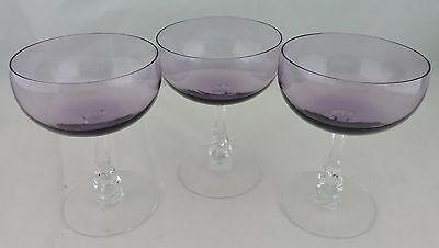 VINTAGE AMETHYST PURPLE PLUM WINE CHAMPAGNE GLASS SET 3 SIGNED FOSTORIA STEMWARE