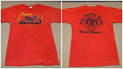 Vtg INDIAN MOTORCYCLE Iron Art 1991 Swine Pit Biker Harley Emblem 3d T-Shirt XXL