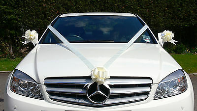 IVORY Wedding Car Decoration Kit Large Bows & 7 Metres of Ribbon FAST & FREEPOST
