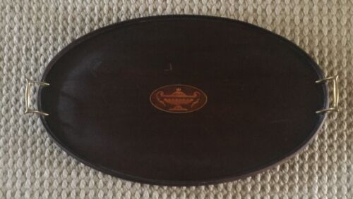 Antique Victorian Mahogany & Urn Inlaid Satinwood Oval Tray w/ Brass Handles
