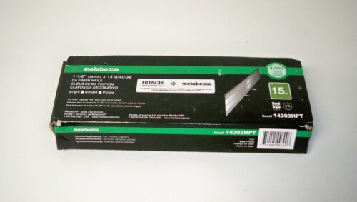 "Metabo 14303HPT Hitachi 1-1/2"" DA Angled 15 Gauge Finish Nails (Qty 4,000)"