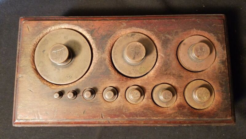 Large Antique Scale Weight Set w/ Wood Base 1/8th oz to 4lb Brass Weights